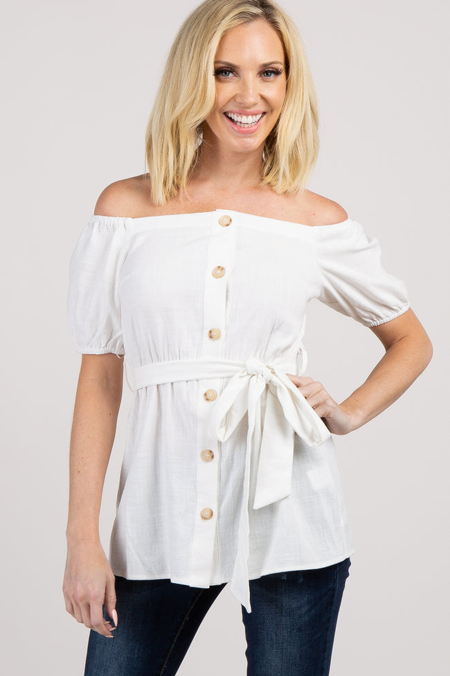 Ivory Off Shoulder Button Front Waist Tie Top
