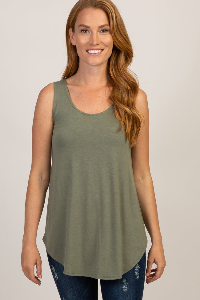 Light Olive Basic Sleeveless Maternity Top