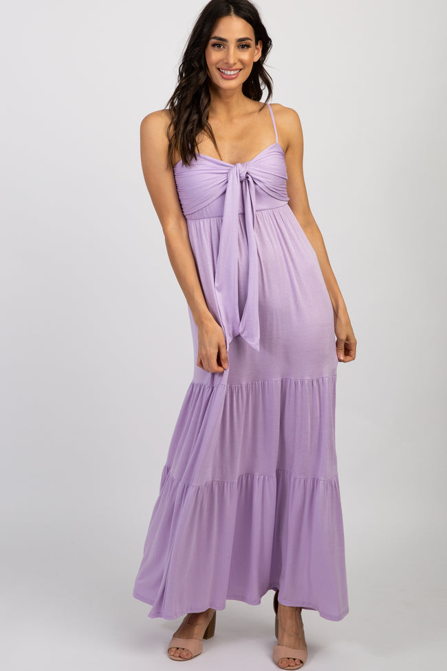 Lavender Solid Tie Front Ruffle Maxi Dress