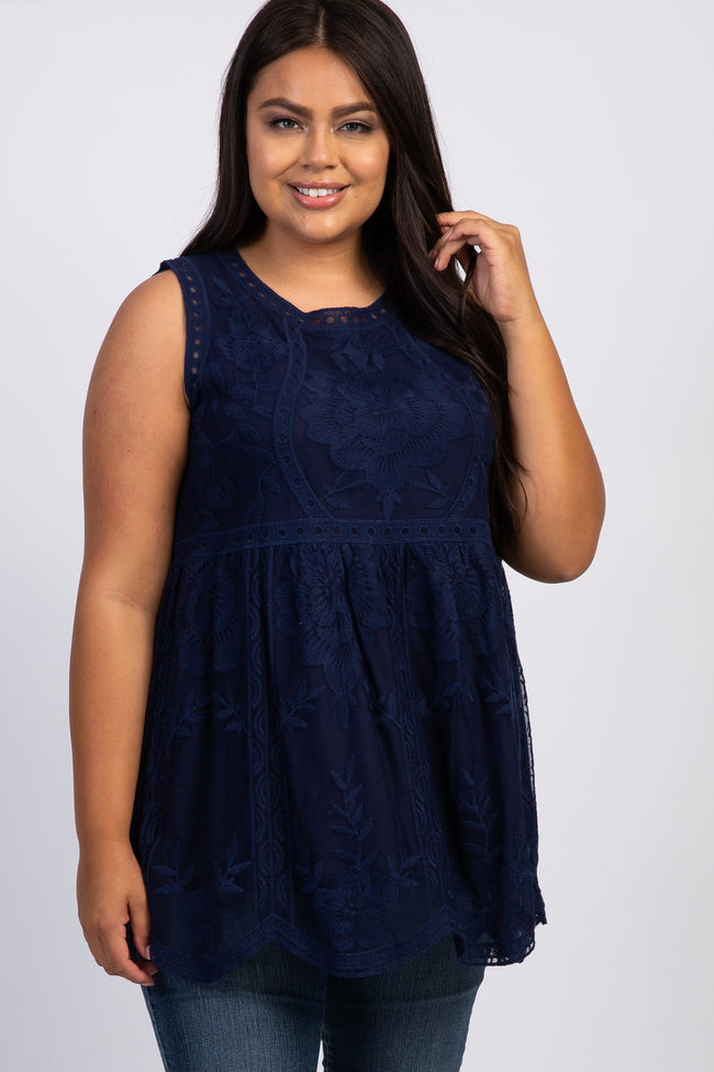 Navy Embroidered Lace Sleeveless Plus Maternity Top