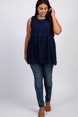 Navy Embroidered Lace Sleeveless Plus Top