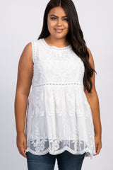 White Embroidered Lace Sleeveless Plus Top