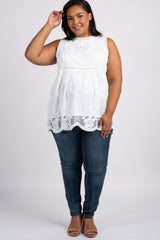 White Embroidered Lace Sleeveless Plus Maternity Top