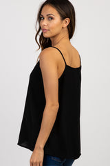 Black Button Front Maternity Tank Top