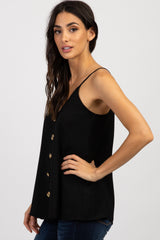 Black Button Front Tank Top