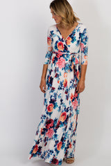 Ivory Floral Sash Tie Maternity/Nursing Wrap Maxi Dress
