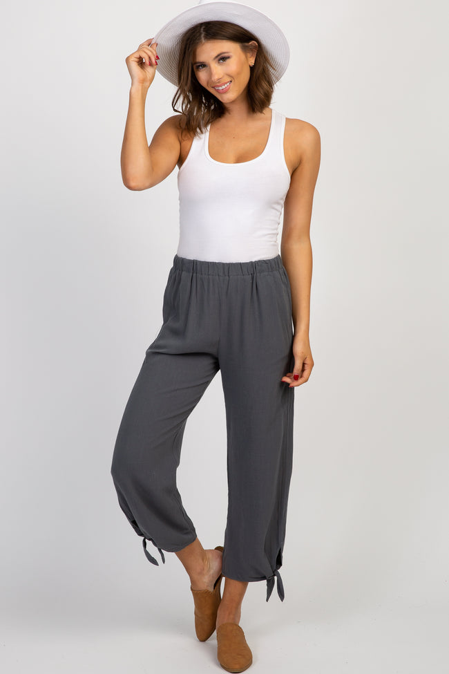Charcoal Cropped Ankle Tie Maternity Pants