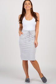 Heather Grey Striped Tie Front Skirt