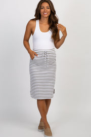 Heather Grey Striped Tie Front Maternity Skirt
