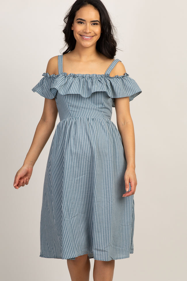 Blue Striped Off Shoulder Ruffle Layer Maternity Dress