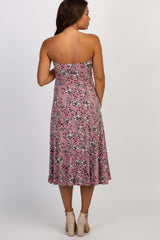 Mauve Floral Strapless Maternity Midi Dress
