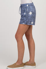 Navy Star Print Shorts
