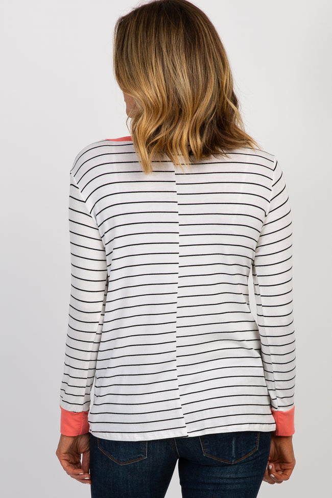 Coral Striped Colorblock Layered Wrap Front Maternity/Nursing Top