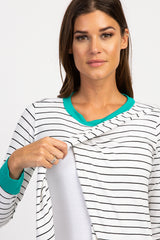 Jade Striped Colorblock Layered Wrap Front Top