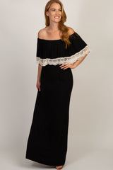Black Off Shoulder Crochet Trim Maxi Dress