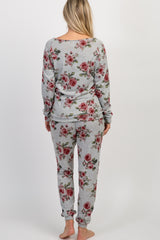 Heather Grey Floral Long Sleeve Maternity Pajama Set