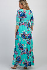 PinkBlush Mint Floral Sash Tie Maternity/Nursing Wrap Maxi Dress
