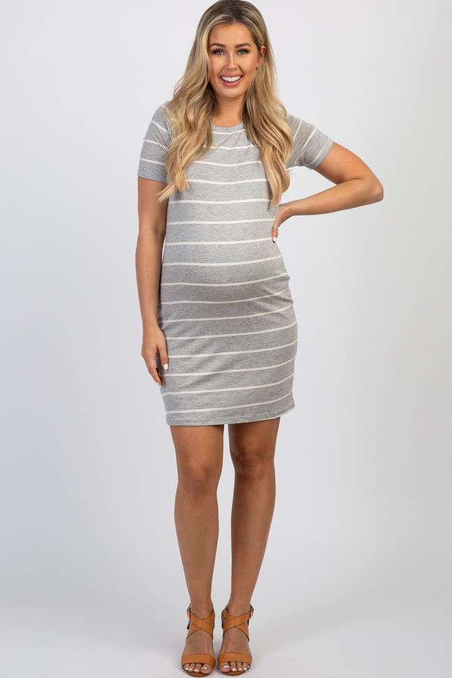 Heather Grey Striped Short Sleeve Maternity Dress