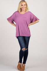 Purple Lace Short Sleeve Maternity Top