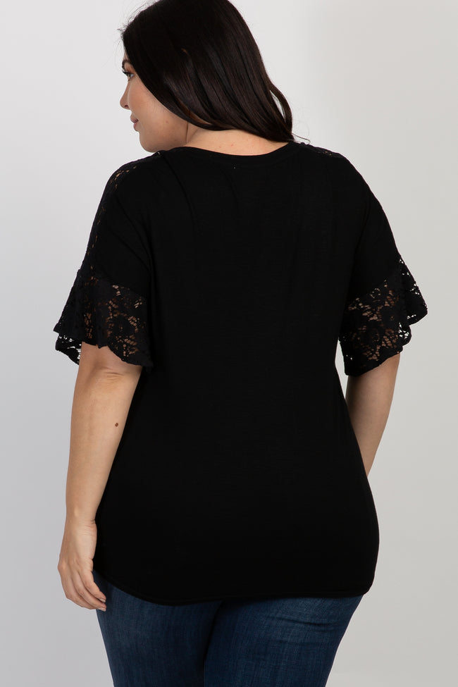 Black Lace Short Sleeve Plus Maternity Top