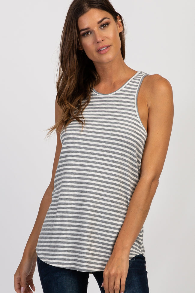 Heather Grey Striped Ribbed Racerback Tank Top