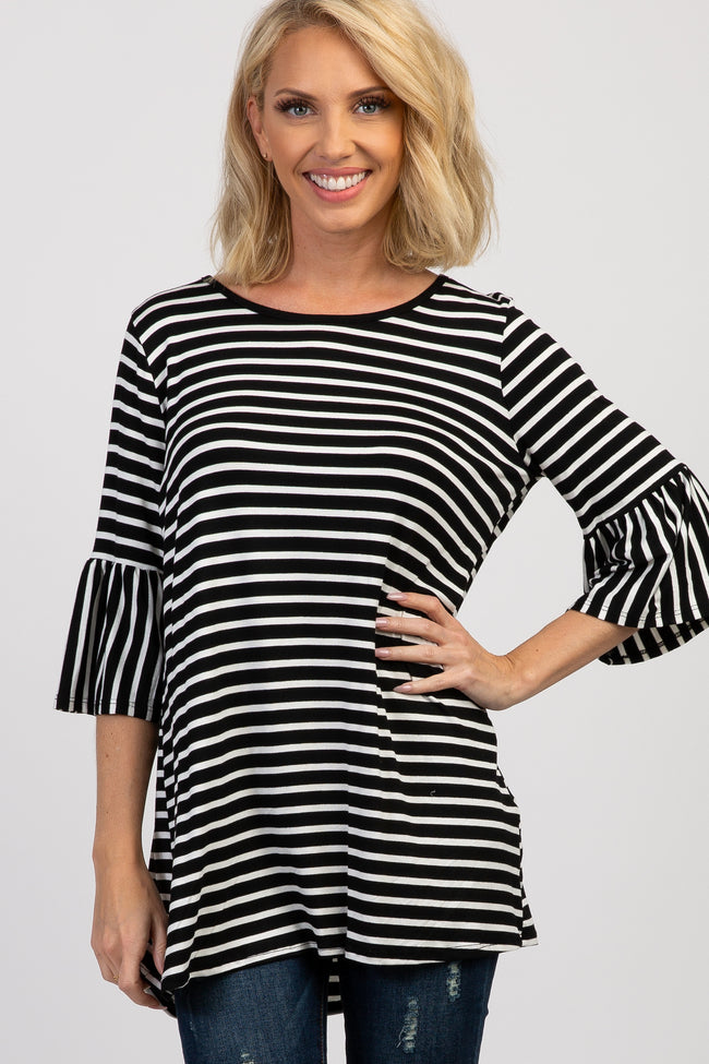 Black Striped Pleated Sleeve Maternity Top