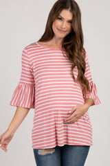 Mauve Striped Pleated Sleeve Maternity Top