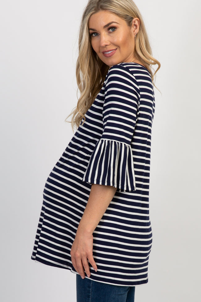 Navy Blue Striped Pleated Sleeve Maternity Top