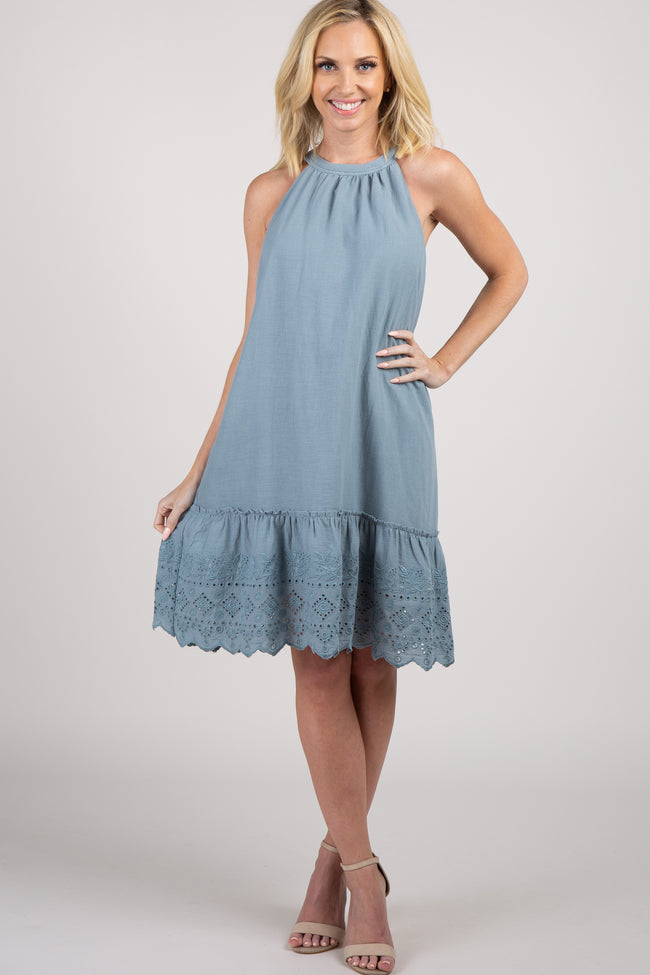Blue Halter Embroidered Eyelet Trim Dress