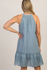Blue Halter Embroidered Eyelet Trim Maternity Dress