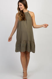 Olive Halter Embroidered Eyelet Trim Maternity Dress