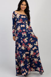 Navy Floral Off Shoulder Maternity Maxi Dress
