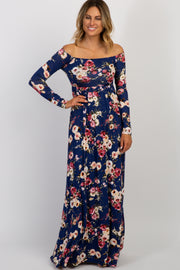 Navy Floral Off Shoulder Maxi Dress
