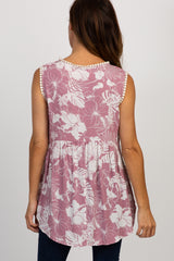 Mauve Floral Crochet Trim Tank Top