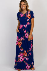 Navy Floral Crisscross Back Maternity Maxi Dress