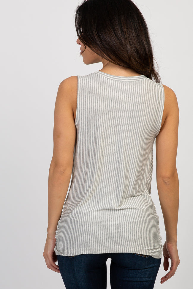 Heather Grey Pinstriped Sleeveless Knot Tie Maternity Top