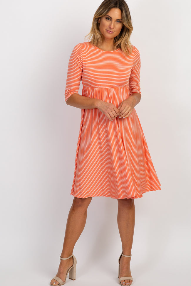 Coral Pinstriped Dress