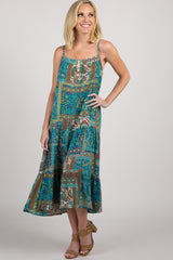 Blue Tribal Sleeveless Dress