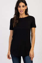 Black Solid Leopard Trim Accent Top