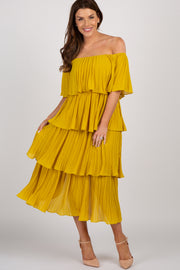 Yellow Solid Off Shoulder Pleated Ruffle Midi Dress