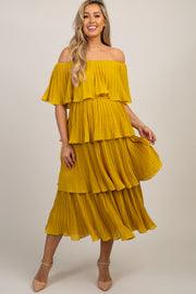 Yellow Solid Off Shoulder Pleated Ruffle Maternity Midi Dress