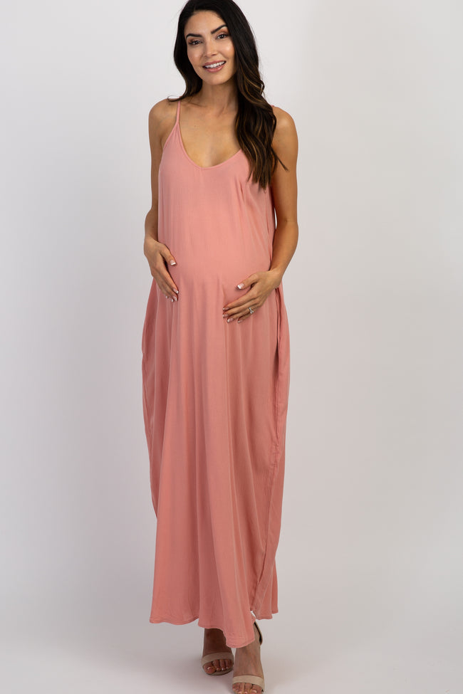 Light Pink Solid Sleeveless Maternity Maxi Dress
