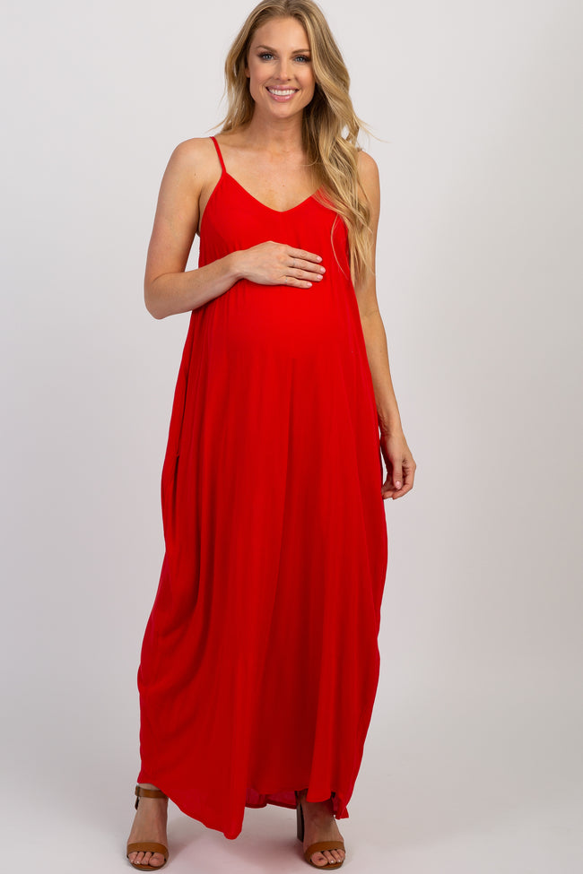 Red Solid Sleeveless Maternity Maxi Dress