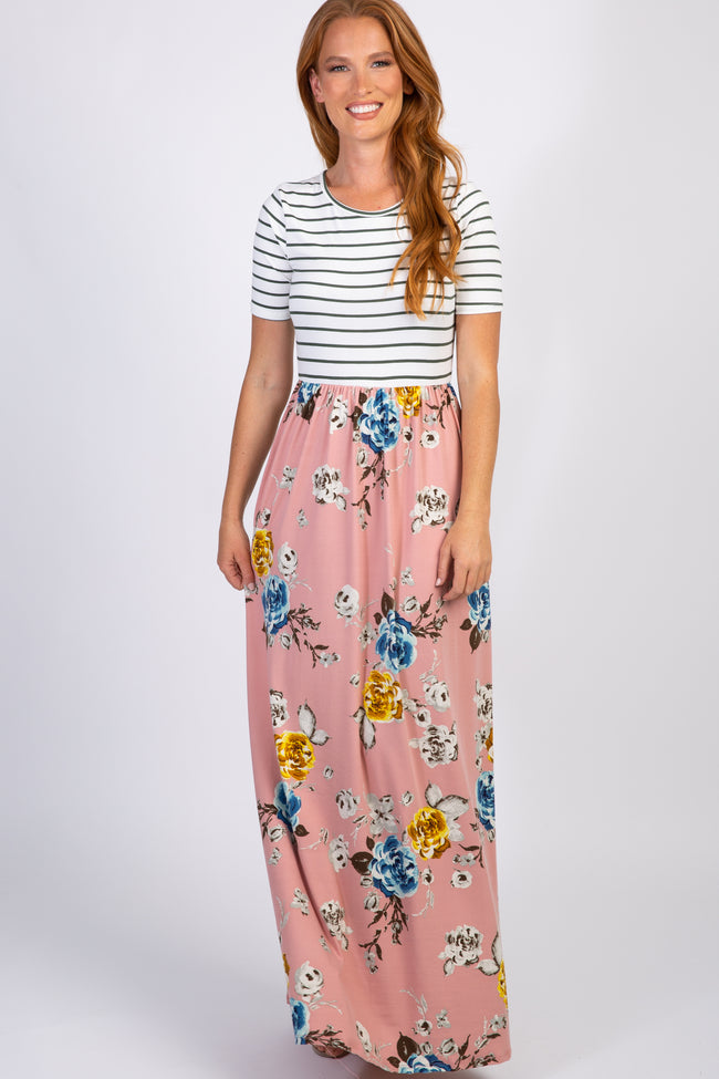 Pink Floral Colorblock Stripe Maxi Dress