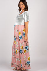 Pink Floral Colorblock Stripe Maternity Maxi Dress