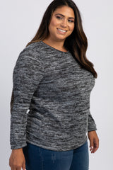 Charcoal Grey Sequin Elbow Patch Plus Sweater