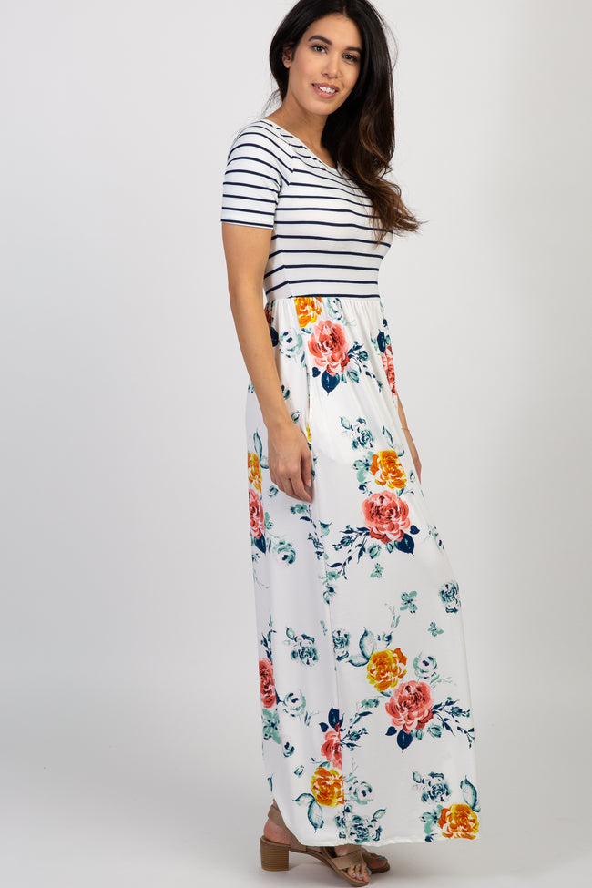 Ivory Floral Colorblock Stripe Maxi Dress
