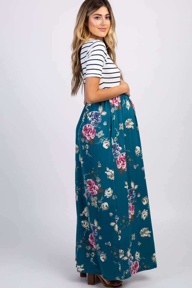 Floral Stripe Maternity Maxi Dress