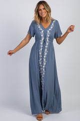 Blue Floral Embroidered Maxi Dress