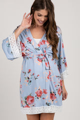 PinkBlush Light Blue Rose Floral Lace Trim Delivery/Nursing Maternity Robe